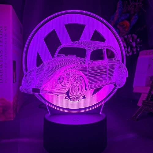 Anime 3D Night Light 3D ilusión de luces LED para coche, decoración de habitación de niños, luz nocturna colorida, atmosférica, regalo de cumpleaños para niños