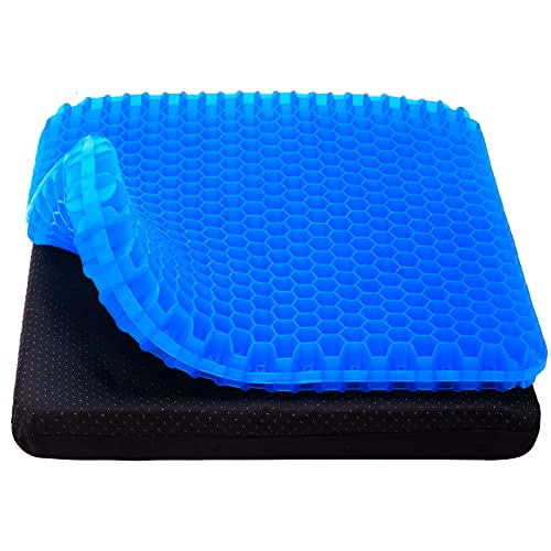Gel Seat Cushion, Cooling seat Cushion Thick Big Breathable Honeycomb Design Absorbs Pressure Points Seat Cushion with Non-Slip Cover Gel Cushion for Office Chair Home Cars Wheelchair