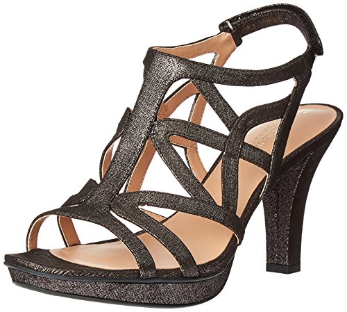 Naturalizer Women's Danya Platform Dress Sandal, Black/Pewter, 6 M US
