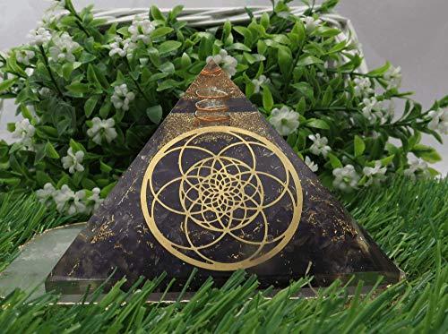 Pirámide de piedra preciosa de amatista Orgone para EMF y protección de energía negativa, pirámide de cristal de amatista natural (flor de la vida)