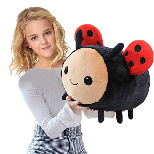 Fluffy Ladybug Plush Insect Toy Pillow, 7.9Inch Red Ladybug-Ladybird Stuffed Animal Play Doll, Kids Children Hugging Cushion Sleeping Bolster Xmas Gifts (40cm=15.7inch)