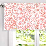 DriftAway Julia Watercolor Blooming Flower Floral Lined Thermal Insulated Window Curtain Valance Rod Pocket 52 Inch by 18 Inch Plus 2 Inch Header Blush 1 Pack