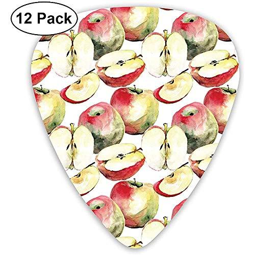 Guitar Picks 12er Pack, halbiert und geviertelt Bio McIntosh Äpfel Gourmet Food Gesundes Leben