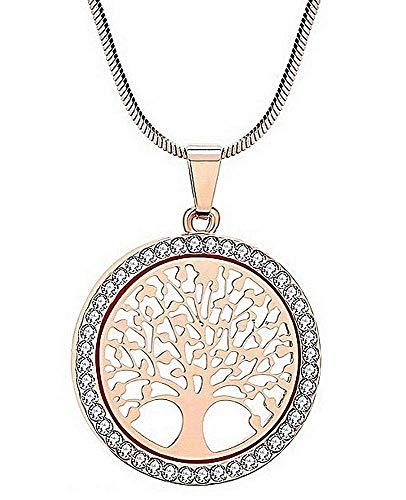 Ketting - kort - levensboom - gouden kleur - vrouw - hanger - uiteinde - lichtpunten - cadeau-idee - verjaardag - kerstmis strass