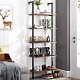 Homfa 5-Tier Industrial Ladder Shelf Against The Wall, 72.6 Inches Display Storage Rack Plant Flower Stand Utility Organizer Bookshelf Wood Look Accent Metal Frame Furniture Home Office
