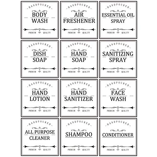 White Waterproof Labels for Bottles, Farmhouse Bathroom/Kitchen Hand Soap Dispenser Label Stickers, 16oz/32oz Bottle Labels for Soap, Lotion,Shampoo and Conditioner,Removable Cleaning Labels,12Pack