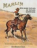 SIGNCHAT Marlin Firearms Co Rifles Cowboy auf Pferd Jagd Retro Vintage Blechschild 20,3 x 30,5 cm