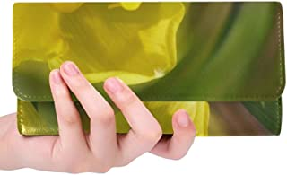 Unique Custom Daffodil Blossom Bloom Spring Garden Women Trifold Wallet Long Purse Credit Card Holder Case Handbag