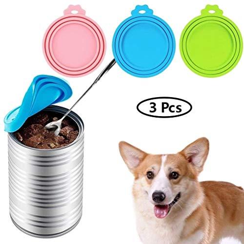 Voarge 3 Stück Silikon Haustier Can Abdeckungen, Silikon-Deckel für Dosenfutter, Futterdosen Deckel, für Hunde und Katzenfutter, Einheitsgröße, passt auf Fast alle Futterdosen(Pink, Blau, Grün)