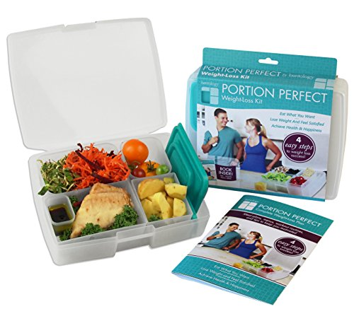 Bento Lunch Box for Adults with Weight Loss Plan Booklet - Portion Control Meal Prep Containers- Clear and Turquoise