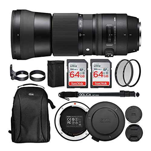 Sigma 150-600mm 5-6.3 Contemporary DG OS HSM Lens for Canon DSLR Cameras USB Dock and Two 64GB SD Card Bundle (7 Items)