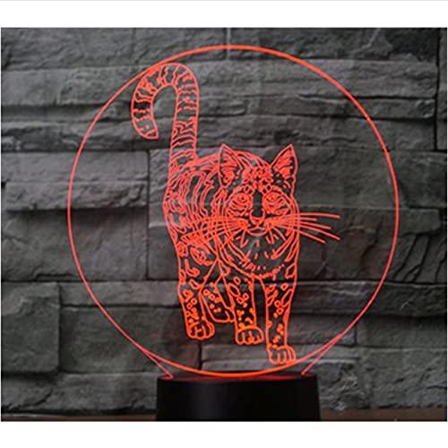 Gato De Pie De Luz De Noche Led 3D Con Luz De 7 Colores Para Decoración Del Hogar Visualización De Lámpara Ilusión Óptica Impresionante