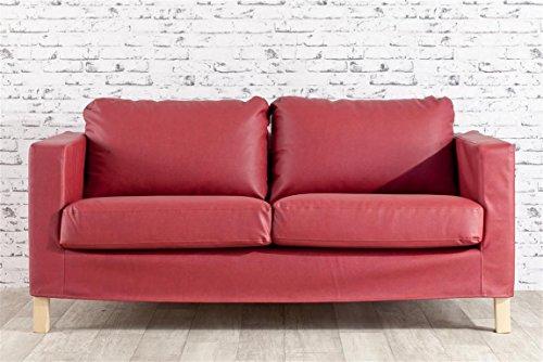Dekoria Karlstad rivestimento per divano a 2 posti in eco pelle Rivestimento, copridivano, fodere, adatto al modello Ikea Karlstad, bordeaux chiaro