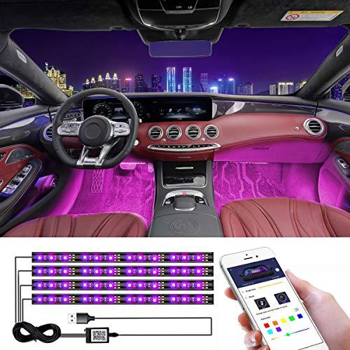 CHDZKEDI Interior Car Lights USB Multicolor Music Car LED Strip Light, Waterproof Underdash Lighting Kits with Sound Active and App Controlled led Lights for car , 4pcs 48 LED, DC 12V