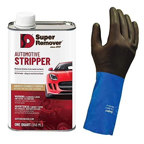 Super Remover - Neoprene, Chemical Resistant Gloves - 1 Pair (Medium) and Automotive Stripper (Quart - 32oz)
