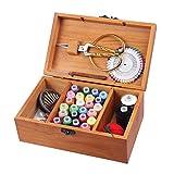 perfecthome Caja de Costura Madera Cesta para Coser Vintage con Accesorios Kit para Caja de Costura Portátil Juego de Cajas de Organizador con Hilo/Agujas/tamaño de Cinta/Tijeras y Otros Accesorios