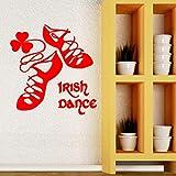 guijiumai Danse Irlandaise Irlande Mur Vinyle Autocollant Chaussures De Danse Décor À La Maison pour Les Filles Chambre Decal Irishman Maison Décoration Murale D 1 L 57x59cm