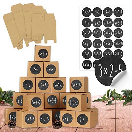 24 Adventskalender Schachteln zum Befüllen - 24 Kisten zum Basteln - Mathe Aufgaben - naturbraune Schachteln aus 400g/m²-Karton zum Aufstellen und Dekorieren - 24 wiederverwendbare Boxen - Weihnachten