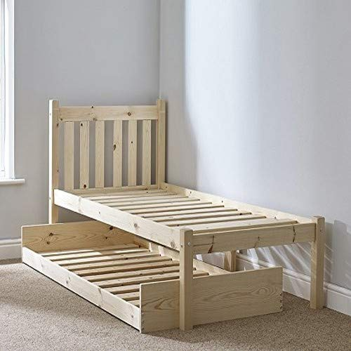 Strictly Beds and Bunks - Amelia Pine Bed Frame with Pull-out Trundle Guest Bed, 2ft 6 Single