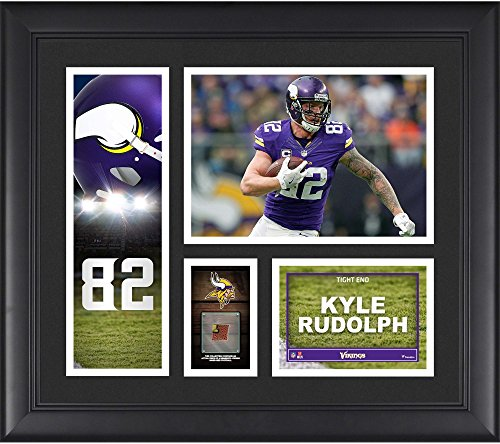 """Kyle Rudolph Minnesota Vikings Framed 15"""" x 17"""" Player Collage with a Piece of Game-Used Football - NFL Player Plaques and Collages"""