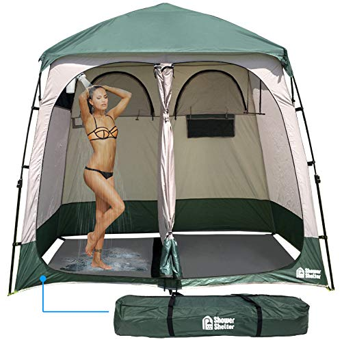 EasyGo Product Shower Shelter – Giant Portable Outdoor Pop UP Camping Shower Tent Enclosure – Changing Room – 2 Rooms – Instant Tent – 7.5
