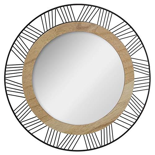 Atmosphera - Espejo redondo de madera y metal Joe D45 cm