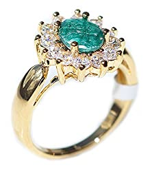 We can engrave the ring (anything of your choice) - £2 charge for less than 20 characters/£4 charge for 20 characters & above (including spaces). Please email us via Amazon with your engraving. Exquisite 1.45ct Genuine Precious EMERALD. Gold Filled U...