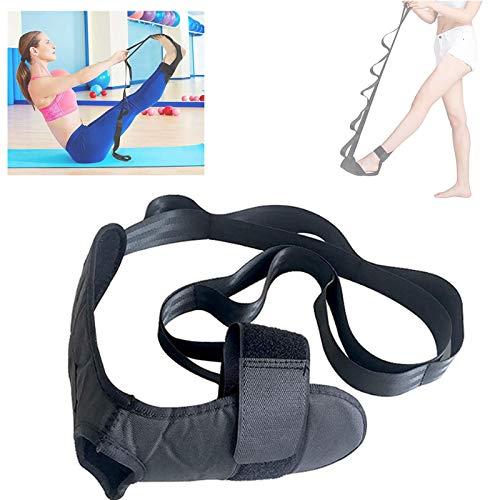 Vandove Correa de Yoga, Cinturón de Estiramiento de Yoga Correa de Rehabilitación Fitness,para Fisioterapia Fascitis Plantar Entrenamiento de piernas Correcciones Negro