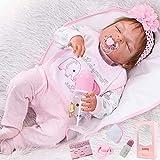 ZIYIUI Réaliste 57 cm 23 Pouces Poupée Reborn Baby Dolls Tout Le Corps Silicone Souple Poupée Yeux fermés Bebe Reborn Fille Jouet Cadeau