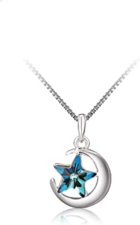 Richapex Blue Crystal Necklace Romantic Moon and Star Pendant Necklace