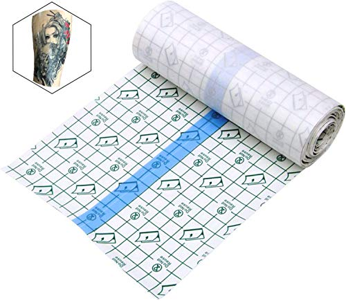 Tattoo Aftercare Waterproof Bandage 6 in x 1 yd Transparent Film Dressing Second Skin Healing Protective Clear Adhesive Bandages Tattoo Supplies Tattoo Bandage Roll