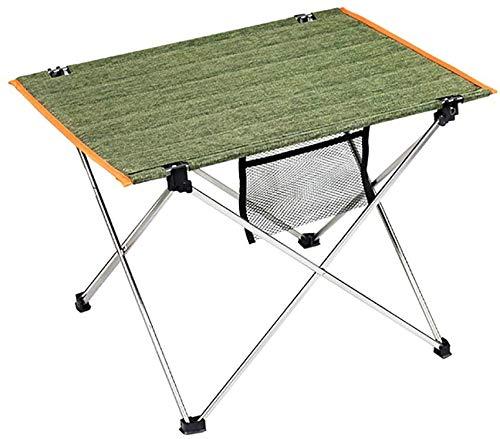 Camping, mesas de picnic mesas plegables de camping portátil Tabla maleta de aluminio ligero con bolsillos,Green