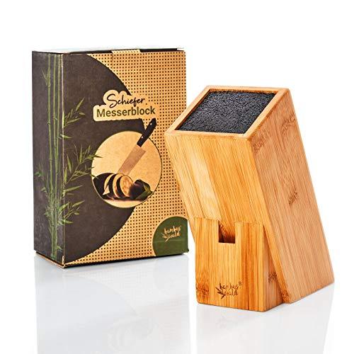 bambuswald© nachhaltiger Messerblock aus Bambus - unbestückt | ohne Messer - Küchenblock mit Borsteneinsatz für 6 Messer z.B. Küchenmesser, Brotmesser, Tranchiermesser | Messerhalter Messerständer