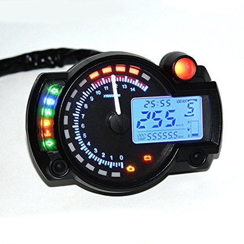 BEESCLOVER Moto modifiée Tableau de Bord 12 V écran LCD réglable Huile Mètre Température de l'eau au mètre 2–4 cylindres Noir