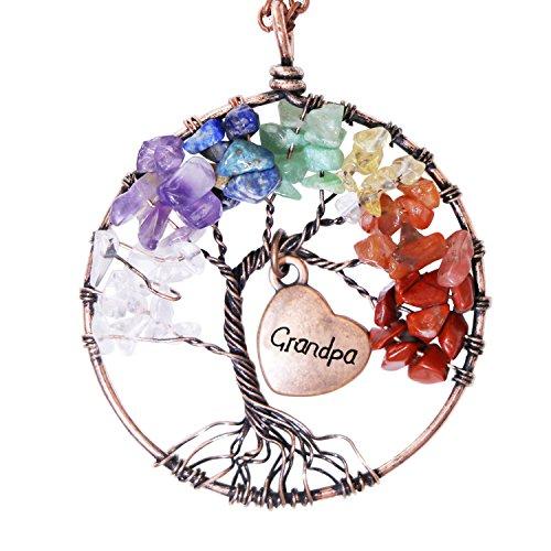 Árbol de la vida colgante de amatista cristal de rosa collar de piedras preciosas joyería chakra (Grandpa)