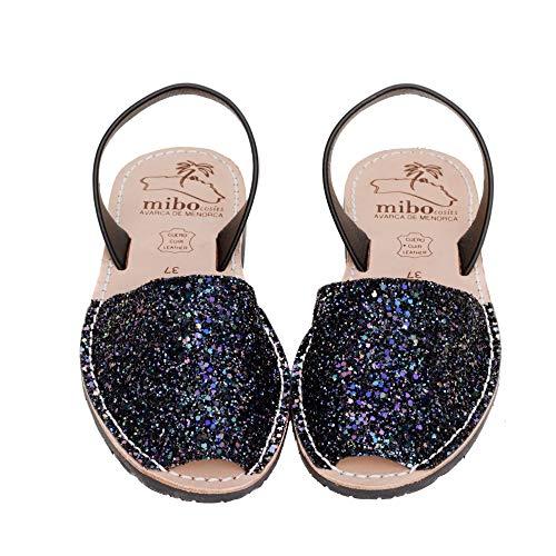 Authentic Avarca Menorquina Sandals Basic Escarcha Multinegro - Talla 37 EU
