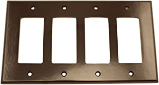 Leviton 80612 4-Gang Decora/GFCI Device Wallplate,  Midway Size,  Thermoset,  Device Mount,  Brown