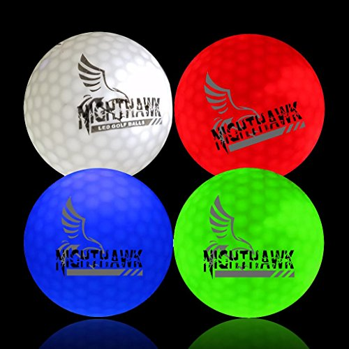 NightHawk 4 Glow in Dark LED Light Up Golf Balls Official Size Weight Constant On
