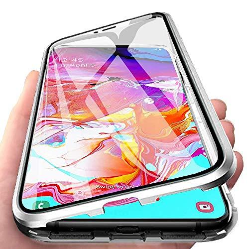 CHIMUCO Funda para Samsung Galaxy S21 5G / 4G Carcasa, Adsorción Magnética Parachoques de Metal con 360 Grados Protección Case Transparente Ambos Lados Vidrio Templado Cubierta Cover, Plata