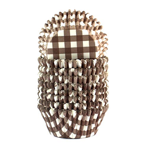 Eoonfirst Gingham Standard Cupcake Liners Muffin Baking Cups 200 Pcs (Coffee)