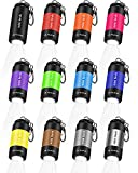 12 Pieces Mini Keychain Flashlight, USB Torch Rechargeable Colorful LED Flashlight High-Powered Keychain Lamp, Multicolor (White Light)