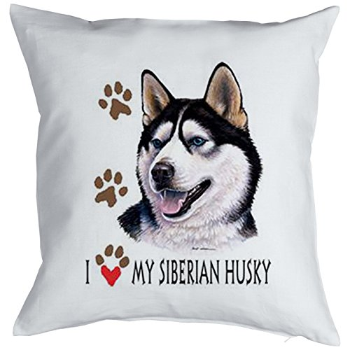 Kissen mit süßem Hunde Motiv - I love my Siberian Husky - Hundebild - Geschenk für alle Tierliebhaber und Hundefans - weiss