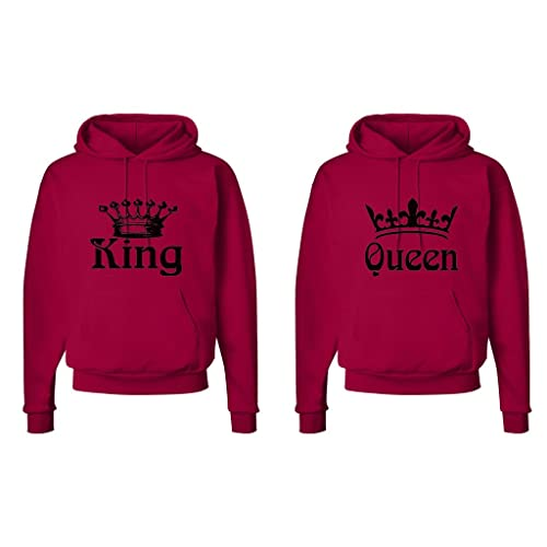 newest 716a9 ab4b2 FASCIINO Matching His   Hers Couple Hooded Sweatshirt Set - King and Queen  Crowns