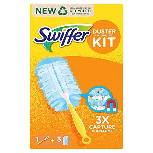 Swiffer Duster Kit con 1 Manico e 3 Ricambi, Intrappola e Blocca fino a 3 Volte più Polvere e Peli Rispetto a un Piumino Tradizionale