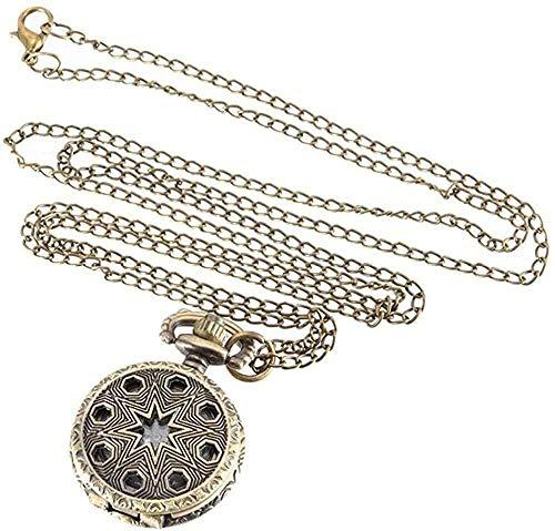 BEISUOSIBYW Co.,Ltd Collar Reloj de Bolsillo Vintage Reloj de Bolsillo de Color Bronce Reloj de Cuarzo Fresco Relojes de Pentagrama Huecos
