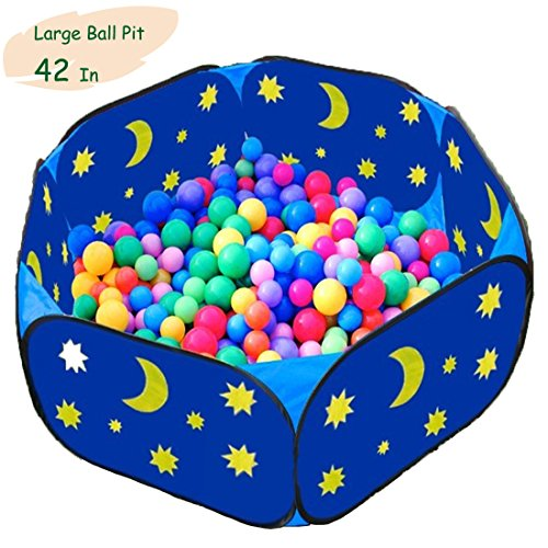 Eggsnow Kids Ball Pit Toddler Ball Pit Large Blue Baby Play Pit with Zippered Storage Bag Ideal for Toddlers Pets Indoor Outdoor Play Balls Not Included(42 Inch)