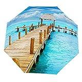Paraguas anti-UV para sol/lluvia,Paisaje junto al mar bajo un cielo azul y nubes blancas, una playa Paraguas de viaje a prueba de viento: compacto, automático.