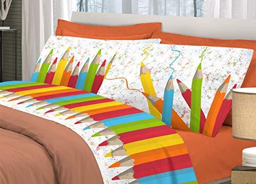Biancheria Store Set Lenzuola Letto Singolo Matite Colorate Completo Letto 1 Piazza Cotone Made in Italy Lenzuolo sopra 160x300 + sotto con Angoli 90x200 + Federa 52x82 - Arancione