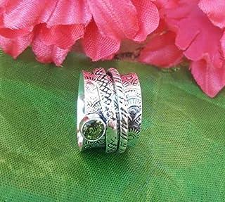 Banda, anillo de plata de ley 925, anillo de peridoto, anillo giratorio, anillo de pulgar para hombre, anillo hecho a mano de regalo del día de la madre de diseñador, anillo de boda para mujer