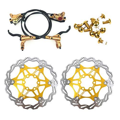 NYK Zoom Juego de frenos de disco hidráulicos para bicicleta de montaña MTB delantera y trasera con rotor de disco flotante de 160 mm y pernos de color (dorado)